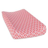 Trend Lab® Shell Floral Changing Pad Cover in Coral/White