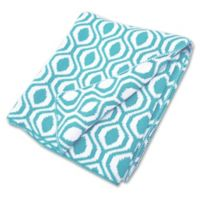 American Baby Company® Ogee Print Cotton Sweater Knit Blanket in Aqua