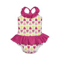 i play.® Size 6M 1-Piece Tulip Print Ruffle Swimsuit with Built-In Swim Diaper in White