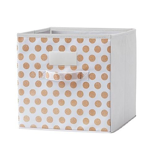 Modular cube grid bin in gold set of 2 bed bath beyond for Gold bathroom bin