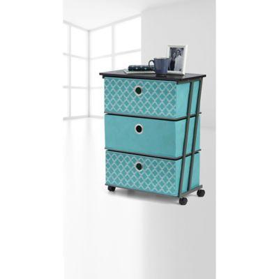 Charmant Studio 3B™ 3 Drawer Reversible Storage Cart In Aqua Fret