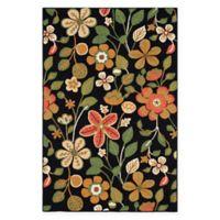 Safavieh Four Seasons Floral 5-Foot x 7-Foot Indoor/Outdoor Area Rug in Black Multi