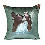 Mermaid Sequin Throw Pillow in Green/Rose Gold