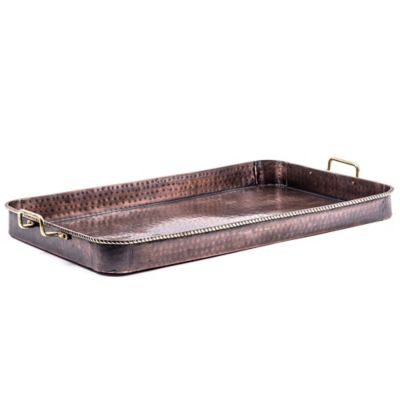 Old Dutch International 24 Inch Oblong Serving Tray With Brass Handles In Antique Copper