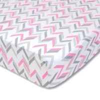 Wendy Bellissimo™ Mix & Match Chevron Fitted Crib Sheet in Grey/Pink