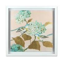Birds On Blossom Hydrangea Gathering Watercolor Wall Art