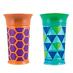 Sassy® 9 oz. Plastic Grow Up Cups in Green/Orange (Set of 2)