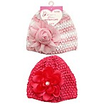 Stepping Stones 2-Pack Flower Crochet Hats in Hot Pink/Pink