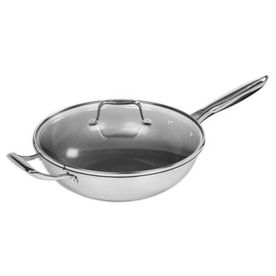 maker homeware nonstick triply stainless steel 12inch covered wok with helper