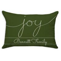 """Joy"" Poplin Oblong Throw Pillow in Green"