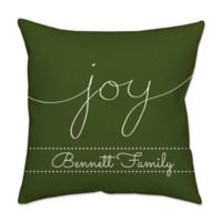 """Joy"" Poplin Square Throw Pillow in Green"