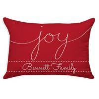 """Joy"" Poplin Oblong Throw Pillow in Red"