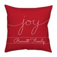 """Joy"" Poplin Square Throw Pillow in Red"