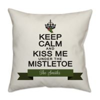 Under the Mistletoe Poplin Square Throw Pillow in Off White