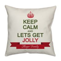 """""""Keep Calm and Let's Get Jolly"""" Poplin Square Throw Pillow in Off White"""