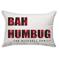 """""""Bah Humbug"""" Plaid Poplin Oblong Throw Pillow in Red"""