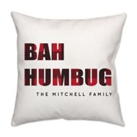 """""""Bah Humbug"""" Plaid Poplin Square Throw Pillow in Red"""