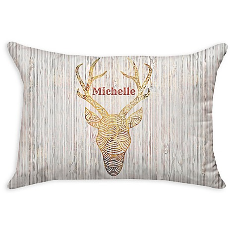 Buy Reindeer WhiteFire Poplin Oblong Throw Pillow in Gold from Bed Bath & Beyond