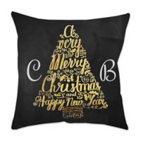 Metallic Tree Poplin Square Throw Pillow in Black