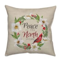 Cardinal Wreath Peace Poplin Square Throw Pillow in Green/Red