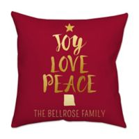 """""""Joy Love Peace"""" Square Throw Pillow in Red"""