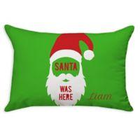 """Santa Was Here"" Poplin Oblong Throw Pillow in Green"