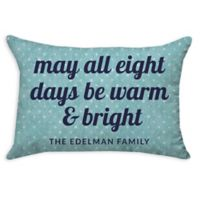 """""""May All Eight Days Be Warm & Bright"""" Polka Dot Poplin Oblong Throw Pillow in Blue"""