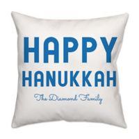 Bold Happy Hanukkah Poplin Square Throw Pillow in Blue