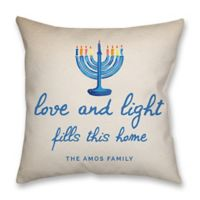 """""""Love and Light"""" Poplin Square Throw Pillow in Blue"""