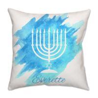 Menorah Square Throw Pillow in Blue