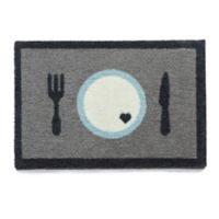 """Howler & Scratch 24-Inch x 16-Inch """"Hungry Thirsty"""" Pet Mat in Grey"""