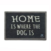 """Howler & Scratch 30-Inch x 20-Inch """"Where Is The Dog"""" Washable Mat in Navy Blue"""
