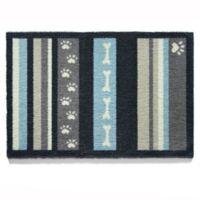 Howler & Scratch 39-Inch x 20-Inch Stripe Washable Dog Mat in Navy/Grey