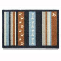 Howler & Scratch 39-Inch x 20-Inch& Stripe Washable Dog Mat in Navy/Orange