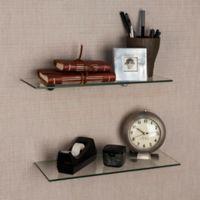 Danya B. 16-Inch Glass Radial Floating Shelves in Clear (Set of 2)