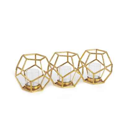 Danya B. Sparkling Polyhedron Triple Candle Holder in Gold