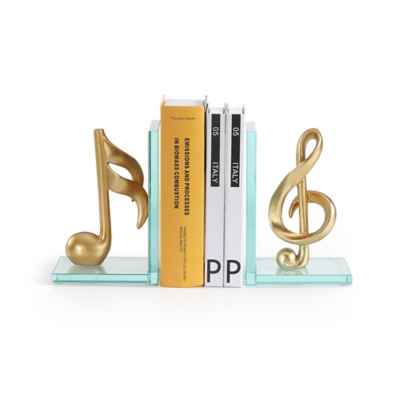 Danya B. Musical Glass Bookend Set in Gold