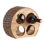 Danya B. Round Acacia Wood 4-Bottle Wine Holder