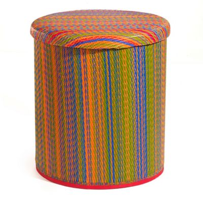 Lovely Cancun Outdoor Round Storage Pouf In Multicolor