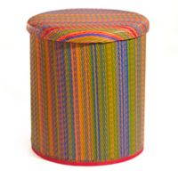 Cancun Outdoor Round Storage Pouf in Multicolor