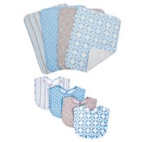 Trend Lab® 8-Piece Logan Bib and Burp Cloth Set in Blue