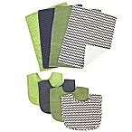 Trend Lab® 8-Piece Perfectly Preppy Bib and Burp Cloth Set