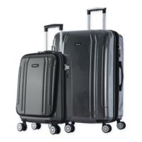 InUSA SouthWorld 2-Piece Spinner Luggage Set with Carry-On and 23-Inch Suitcase in Dark Grey