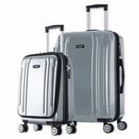 InUSA SouthWorld 2-Piece Spinner Luggage Set with Carry-On and 27-Inch Suitcase in Silver