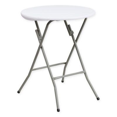 Flash Furniture Plastic 24 Inch Round Granite Folding Table In White