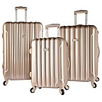 Kensie Metallic 3-Piece Expandable Spinner Suitcase Set in Pale Gold