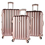 Kensie Metallic 3-Piece Expandable Spinner Suitcase Set in Rose Gold