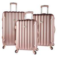 Kensie Metallic 3-Piece Hardside Spinner Luggage Set in Rose Gold