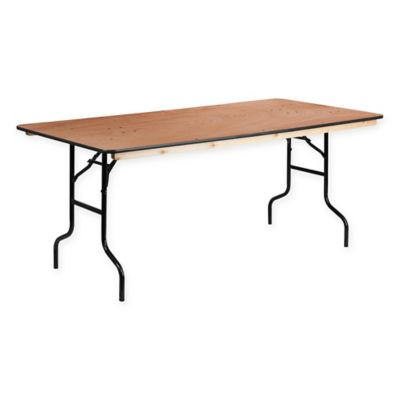 flash furniture 6foot rectangular wood banquet folding table in natural - 6 Foot Folding Table