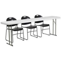 Flash Furniture 4-Piece Folding Table and Chairs Set in Black/White